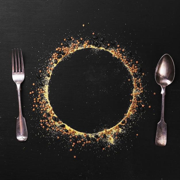 Silhouette de plat et vaisselle Photo gratuit