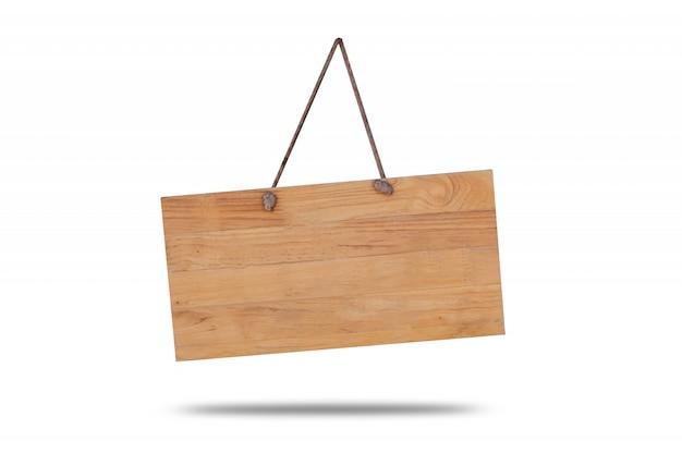Singboard en bois suspendu à une corde Photo Premium