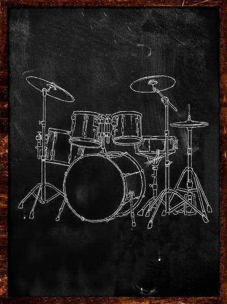 Sketch de craie sur le tableau noir Photo gratuit