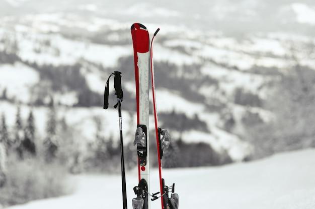 Skis Rouges Et Blancs Mis Dans La Neige Avec Une Grande Vue Sur La Montagne Derrière Eux Photo gratuit