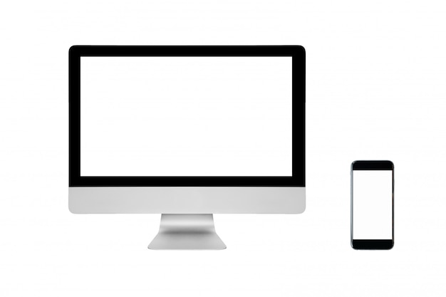 Smart pc moderne et smartphone avec écran blanc isolé sur blanc. Photo Premium
