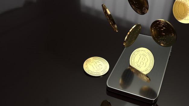 Smart phone et bitcoin rendu 3d pour le concept d'entreprise. Photo Premium