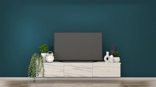Smart tv sur des armoires en granit dans une pièce vert foncé et un rendu decoration.3d Photo Premium