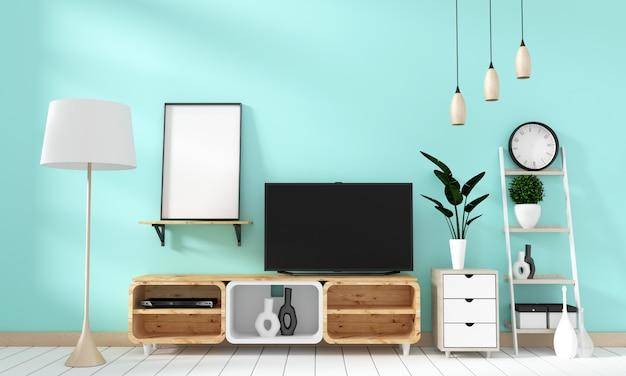 Smart tv mockup sur le mur à la menthe dans le salon japonais. rendu 3d Photo Premium
