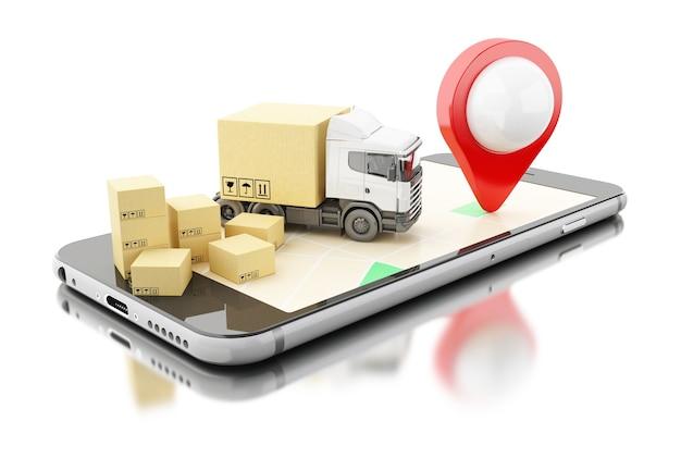 Smartphone 3d Avec Des Boîtes En Carton. Concept D'expédition De Livraison. Photo Premium
