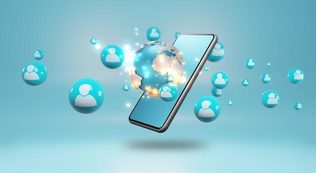 Smartphone Avec Des Icônes Humaines. Concept De Réseau Social, Rendu 3d Photo Premium