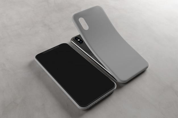Smartphone screen and case - rendu 3d Photo Premium