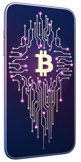Smartphone avec symbole bitcoin et carte de circuit imprimé à l'écran. le concept d'exploitation et de commerce mobiles. Photo Premium