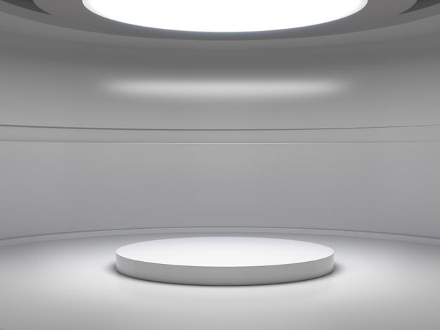 Socle pour affichage dans une salle blanche vide avec des lumières d'en haut, support de produit vide. Photo Premium