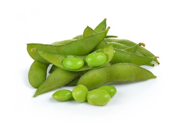 Soja Vert Sur Mur Blanc Photo Premium
