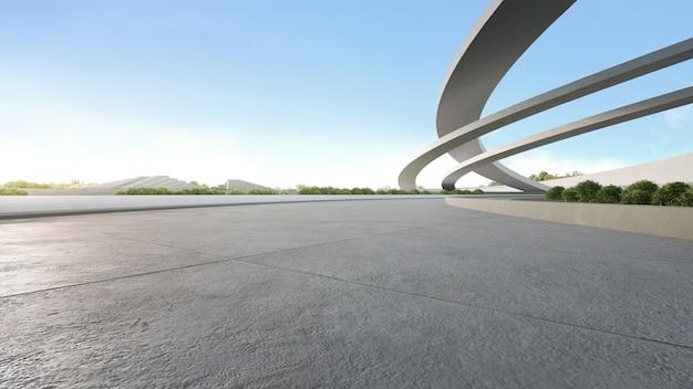 Sol En Béton Vide Dans Le Parc De La Ville. Rendu 3d De L'espace Extérieur Et De L'architecture Future Avec Un Ciel Bleu Photo Premium
