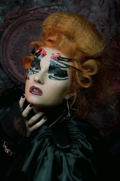 Sorcière Gothique. Femme Noire Photo Premium