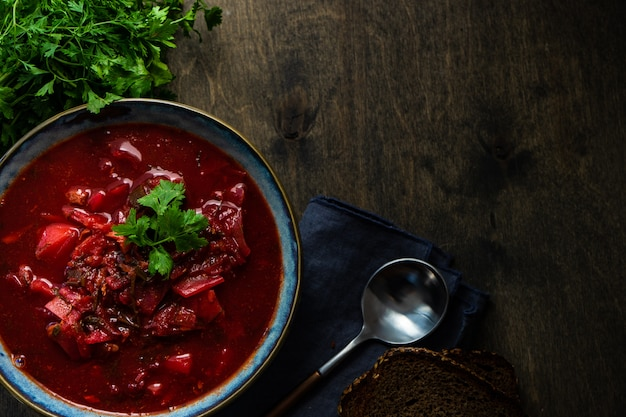 Soupe à La Betterave Ukrainienne Bortsch Photo Premium
