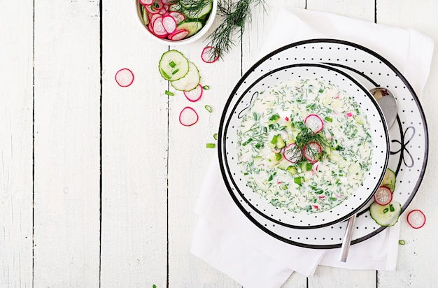 Soupe froide avec des concombres frais, radis avec du yaourt dans un bol sur fond en bois. Photo Premium