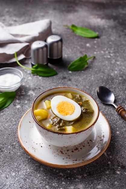Soupe à l'oseille ou bortsch vert aux œufs Photo Premium