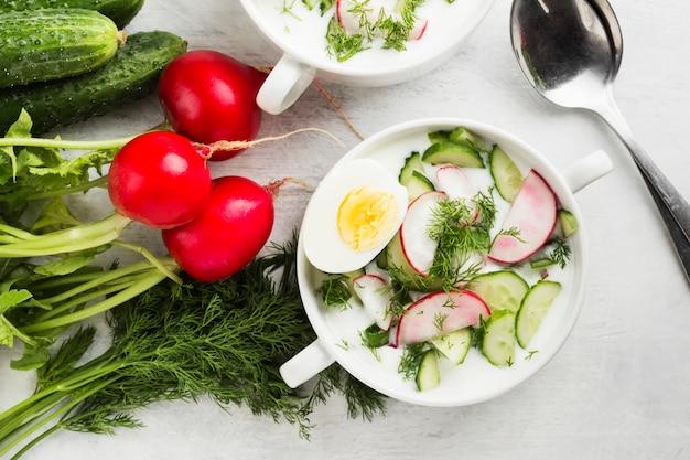 Soupe russe froide à base de kéfir, concombre, radis, œuf et persil Photo Premium