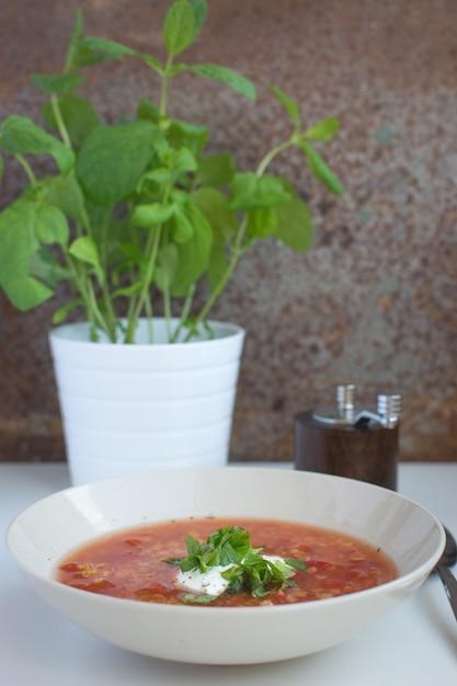 Soupe de tomates aux lentilles rouges avec crème sure et menthe Photo gratuit