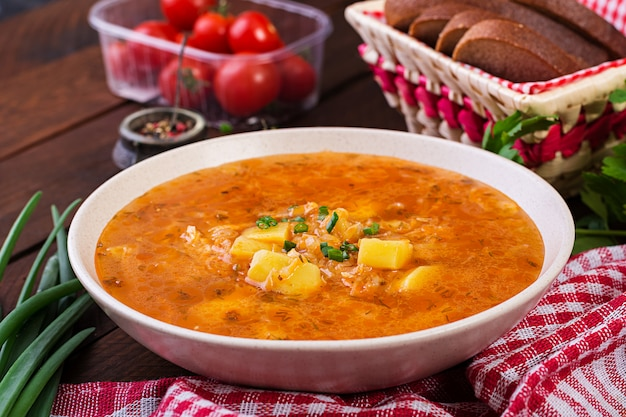 Soupe Traditionnelle Russe Avec Chou - Soupe à La Choucroute - Shchi. Photo Premium