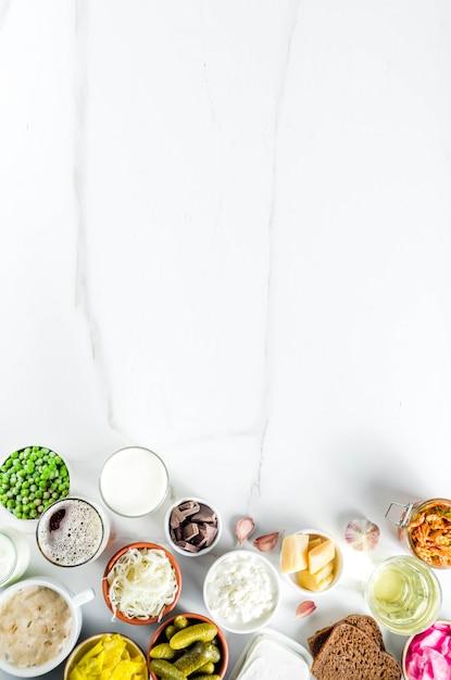 Sources De Nourriture Fermentées Probiotiques Super-saines Photo Premium