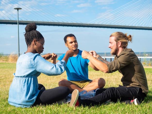 Souriant amis multiethniques sur pique-nique Photo gratuit