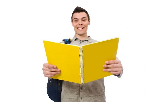 Souriant caucasien étudiant avec sac à dos et livres Photo Premium