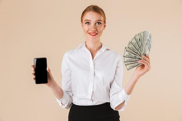 Souriant, Femme Affaires, Projection, Argent Photo Premium