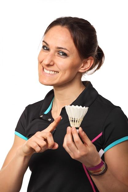 Souriant joueur de badminton Photo Premium