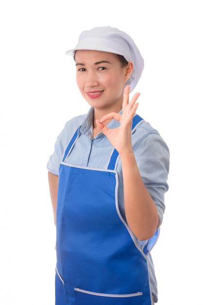 Sourire Femme Chef Montrant Le Signe De La Main Ok Pour La Perfection Photo Premium