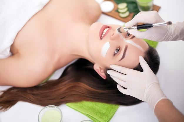 Spa. main appliquant un masque nourrissant sur le visage de femme dans un salon spa Photo Premium
