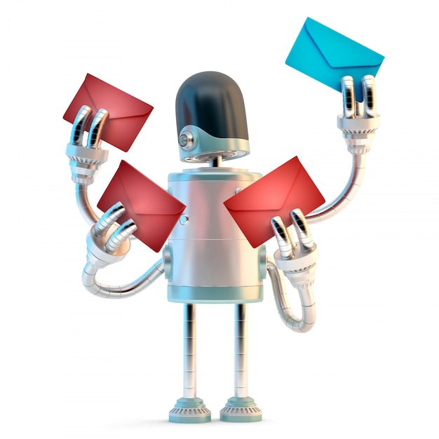 Spambot. illustration 3d isolé. contient un tracé de détourage Photo Premium