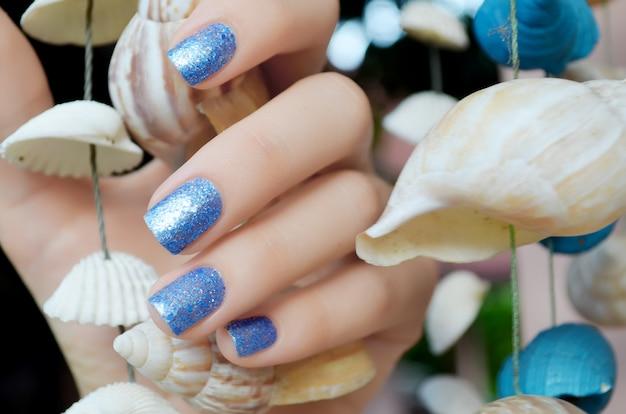 Sparkle Belle Manucure Bleue Photo Premium