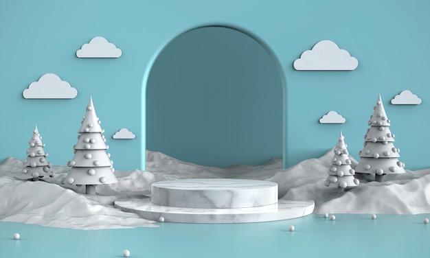 Spectacle de produits de thème blanc neige, promotion, fond de bannières, présent, illustration 3d. Photo Premium