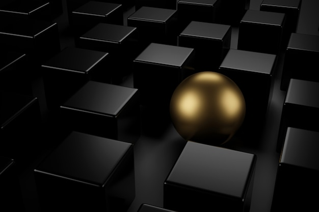 Sphère d'or au milieu de cubes noirs avec les différents concepts. rendu 3d. Photo Premium