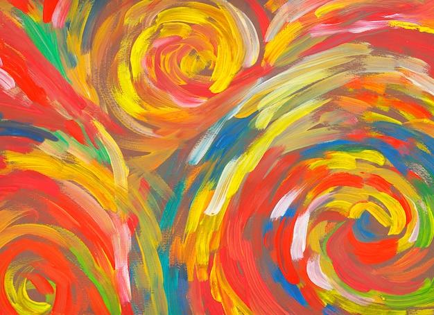 Spirale fond rouge dessiné à la main peinture art abstrait Photo Premium