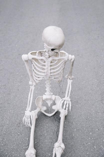 Squelette assis sur la route et regardant vers le bas Photo gratuit
