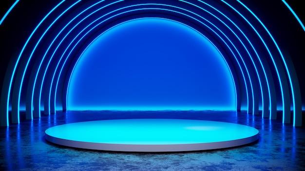 Stade de cercle avec blackground de lumière au néon et sol en béton, lumière bleue, rendu 3d Photo Premium