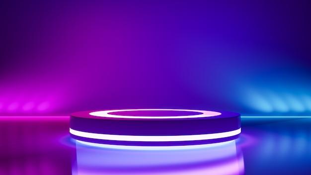 Stade de cercle et néon violet, abstrait futuriste Photo Premium