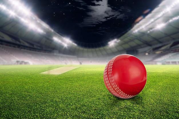 Stade de cricket avec ballon en lumières et flashs rendu 3d Photo Premium