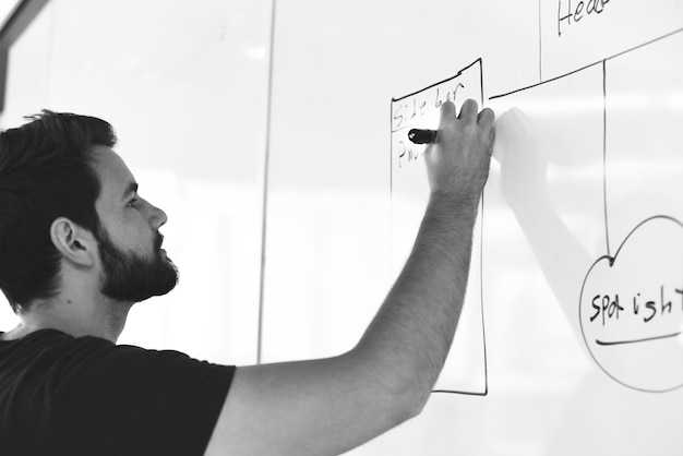 Startup business people écrit sur la stratégie de partage du tableau blanc Photo gratuit