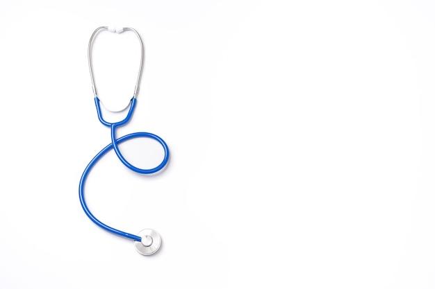 Stéthoscope Bleu, Objet D'équipement De Médecin, Isolé. Vue De Dessus Photo Premium