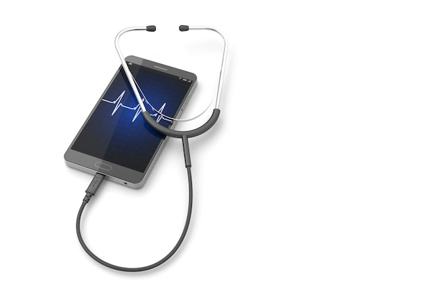 Stéthoscope avec smartphone sur le fond blanc. Photo Premium