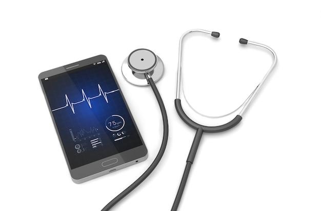 Stéthoscope avec smartphone Photo Premium
