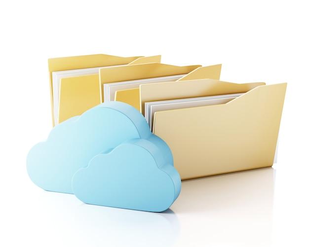Stockage de fichiers 3d en nuage. Photo Premium