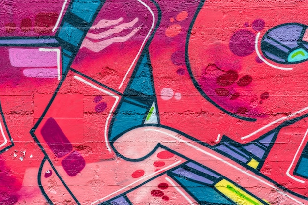 Street art, graffitis colorés sur le mur Photo Premium