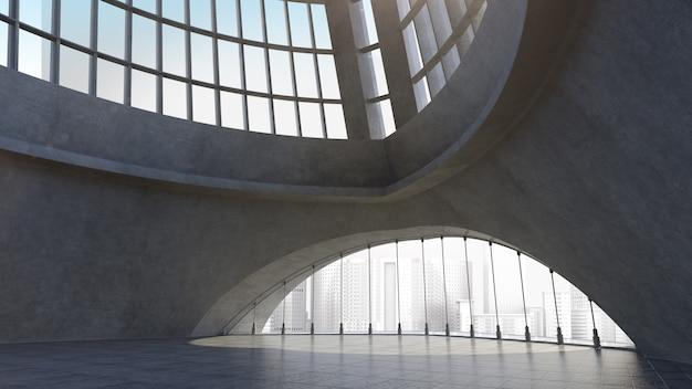 Structure D'architecture En Béton Abstraite Avec Fond De Ville. Rendu 3d Photo Premium