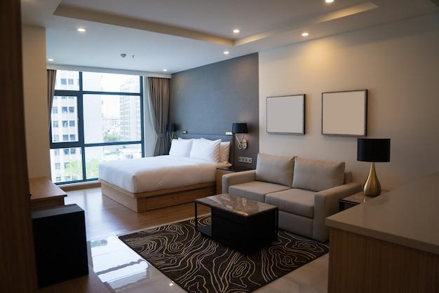 Studio confortable avec chambre et espace de vie. Photo gratuit