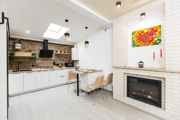 Studio De Cuisine Photographie D'intérieur Dans Un Style Loft Photo Premium