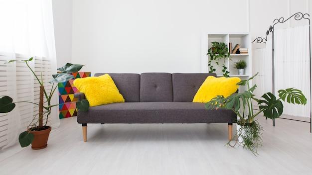 Studio moderne avec des plantes vivantes. couleurs vives à l'intérieur. canapé gris avec des coussins jaunes. Photo Premium