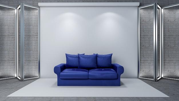 Studio Photo Avec Canapé Moderne Pour Salon Intérieur Photo Premium