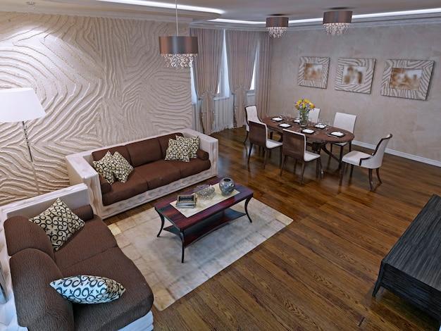 Studios De Luxe Au Design Moderne. Beaux Canapés En Cuir Et Table Basse En Bois D'acajou. Rendu 3d Photo Premium